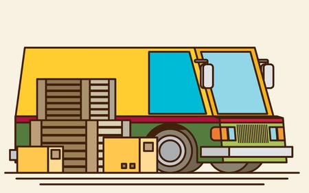 unloading: Unloading or loading trucks. Shipping cargo delivery, export or import, transportation and logistic, flat vector illustration Illustration