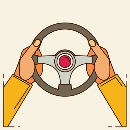 ring road: Hands holding steering wheel, vector illustration in flat style. Illustration