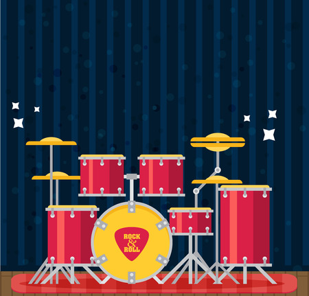 snare: Color flat style vector drum set. Bass tom-tom ride cymbal crash hi-hat snare stands