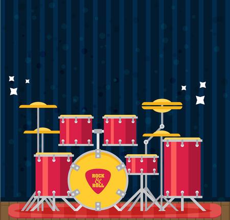 hihat color flat style vector drum set bass tom tom ride cymbal crash