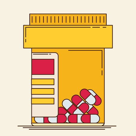 overdose: Vector pill bottle with capsule pills