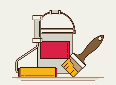 flat brush: Painter instrument for painting flat brush roller paint jar. vector illustration.