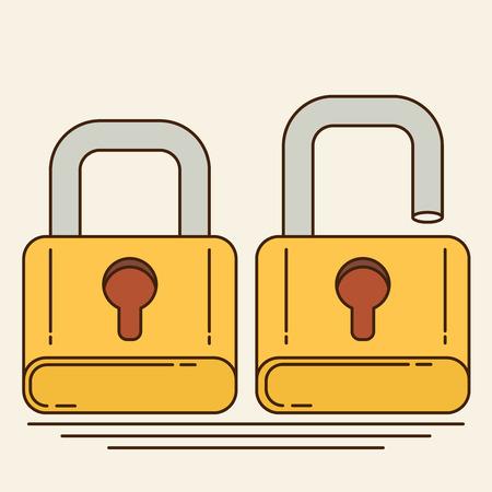 Opened and closed locks. Flat locks