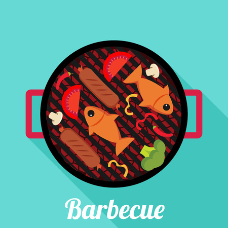 Barbecue. Flat style design - vector Illustration