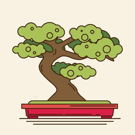 bonsai: flat icon of bonsai tree