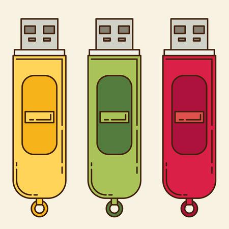 kilobyte: USB flash drive. Flat icon set Illustration