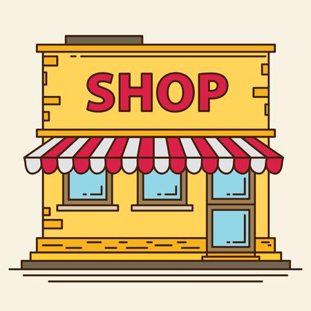 flat: Flat shop building flat vector. Illustration