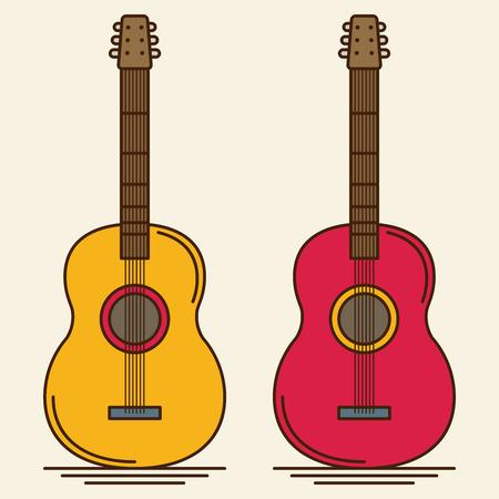 flat: Flat Guitar. Vector Illustration. Musical Instrument Flat