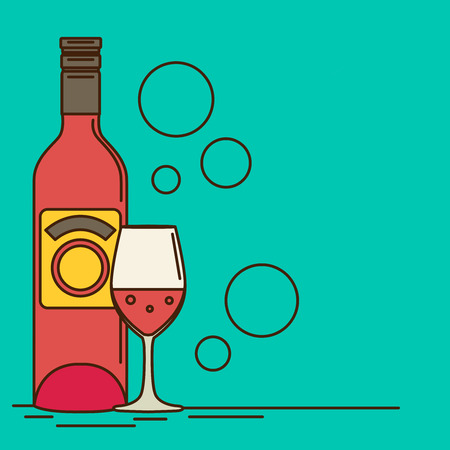 Vector wine bottle and wine glass with red wine. Flat style.