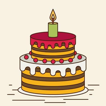 birthday cake, sweet cupcakes, cartoon vector illustration, flat design, postcard