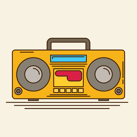 magnetic: Magnetic cassette player. Vector flat Illustration