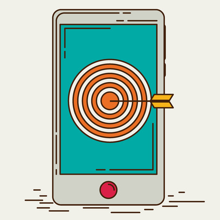 smart goals: Mobile marketing and targeting. Smartphone with dartboard in the screen. Illustration