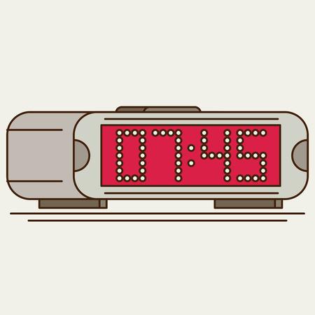 pm: Digital clock. Flat icon Illustration
