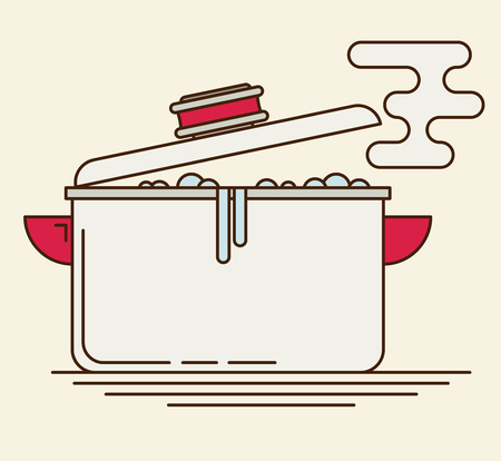 open flame: Boiling water in pan. Flat vector.