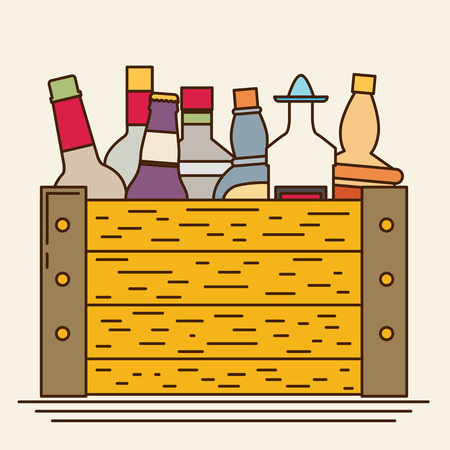 Flat bottles in a box with long shadow. Vector