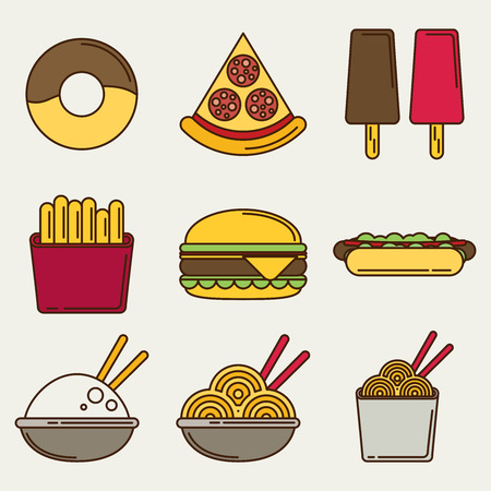 restaraunt: Fast food icons: burger and fries, pizza, hot dog, ice cream, chinese food and donut. Flat vector illustration. Illustration