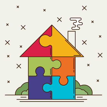 ownership and control: Puzzle house. Flat vector. Illustration