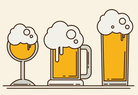pint glass: Set of beer icons. Beer bottle, glass, pint. Oktoberfest. Vector flat illustration isolated on white background.