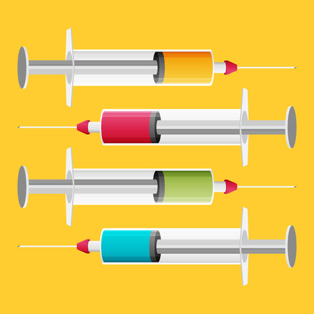 Syringe web icon set. Flat vector. Illustration