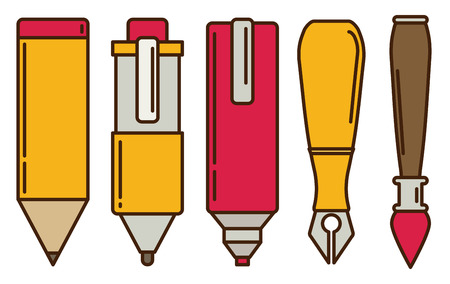 pen and marker: Paint and writing tools flat icons