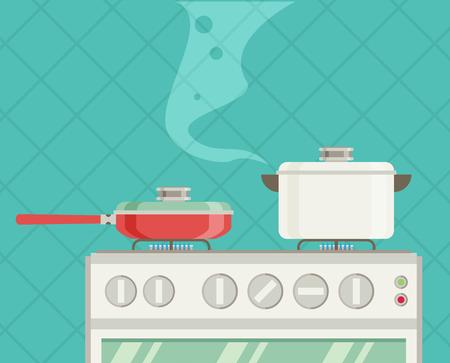 Innenraum der Küche, Pfannen auf dem Herd, Kochen. Vektor-Illustration im flachen Stil Standard-Bild - 64518324