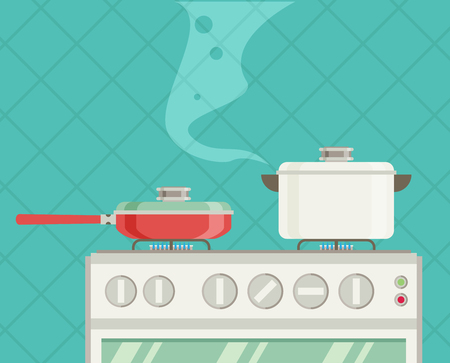 Interior of kitchen, pans on the stove, cooking. Vector illustration in flat style Ilustrace