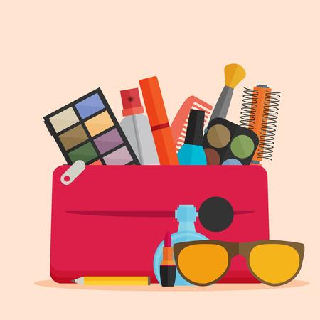 Vector flat design of make up. Illustration
