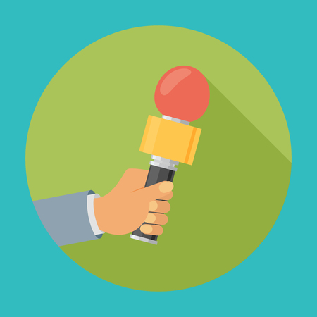Flat design vector business illustration concept Interview hand holding microphone for website and promotion banners.
