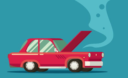 overheating: Broken car. Road accident. Car with open hood. Illustration