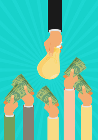 monetary concept: Crowdfunding, investing into ideas, funding project by raising monetary contributions, venture capital flat design colorful vector illustration concept