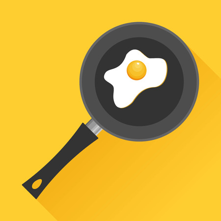 Fried egg in a frying pan isolated on white background. Fried egg flat icon.