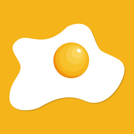 Fried egg isolated on yellow background. Fried egg flat icon. Fried egg closeup.