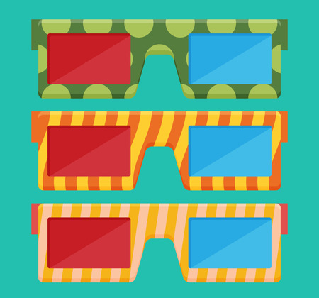 stereoscope: 3D glasses vector illustration of flat.
