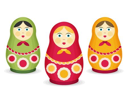 muñecas rusas: Muñecas rusas Matrioshka. estilo plano Vectores