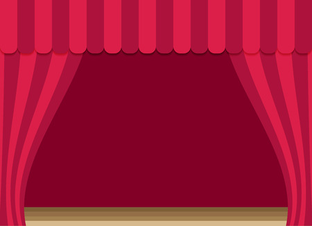 stage curtains with brown wooden floor Illustration