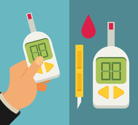 glucose: Blood Glucose Test. Diabetes Flat icon set. Hand holding Glucose Meter