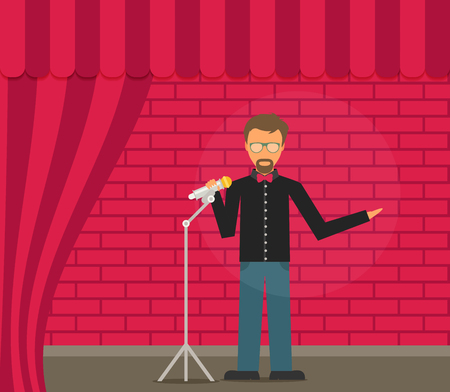 the showman: Comedian Doing Stand Up. Flat vector. Illustration