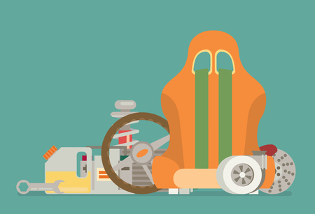 spare: automotive spare parts flat design Illustration