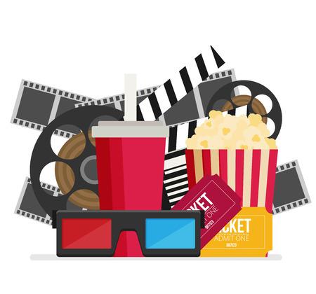 Cinema design in flat style, Vector illustration. Illustration