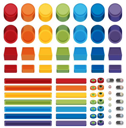 web buttons: Rainbow Flat Web Buttons