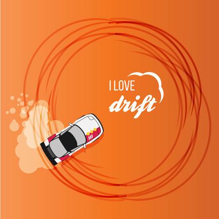 racecar: Top view of a drifting car Illustration