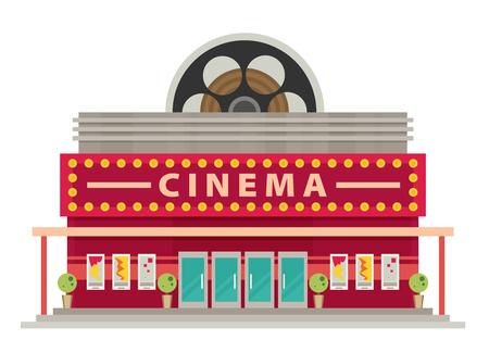 Cinema building flat style. Movie Theater.