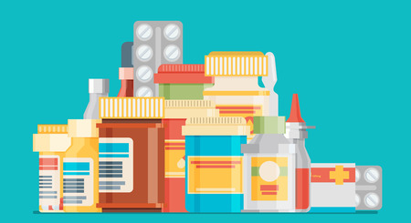 group therapy: Medicine bottles collection. Bottles of drugs, tablets, capsules and sprays. Vector illustration