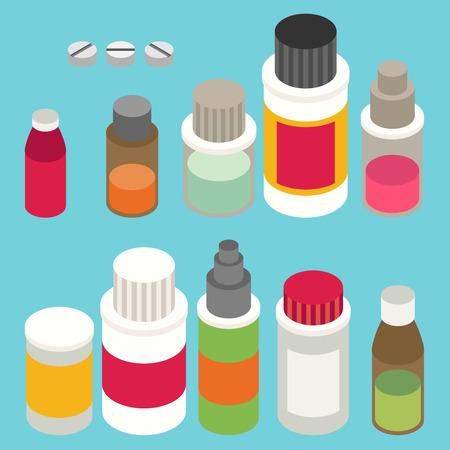 Flat 3d isometric pharmaceutics pharmacy drug