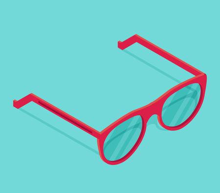 Isolated isometric pink sunglasses.