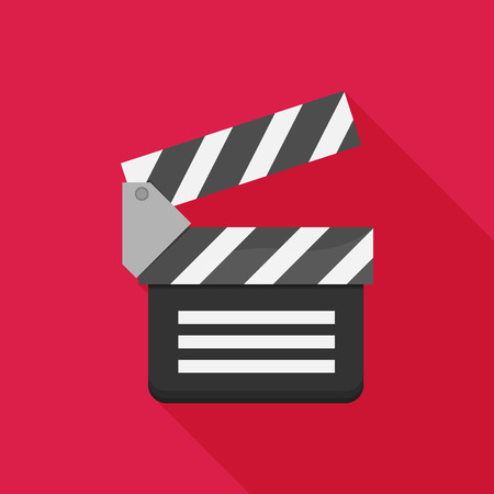clapboard: Vector flat clapboard icon with long shadow