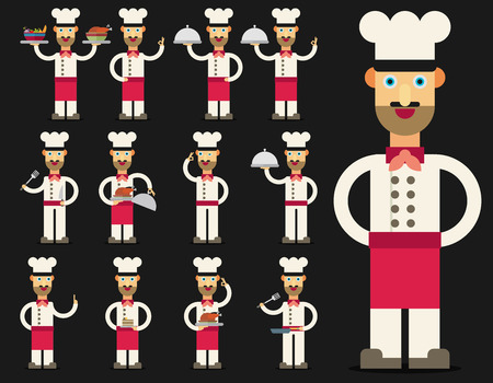 Vector illustration of chef. Flat design set.