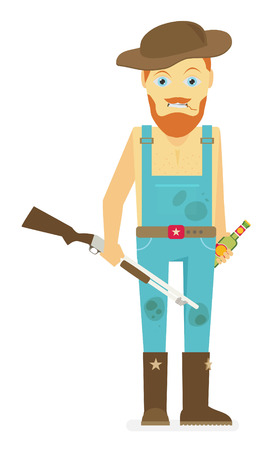 Flat cartoon redneck with a rifle and beer. Isolated on white