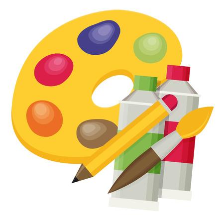 Art color palette with paints, pen and brush.
