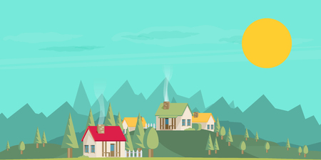 investment real state: Houses. Flat style. Mountains and trees.